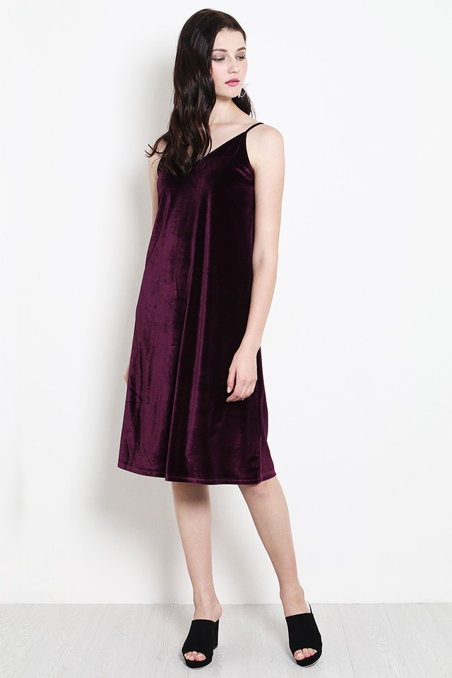 Keara Velvet Dress Maroon