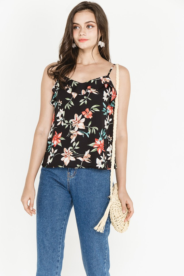 Joni Top Black Floral