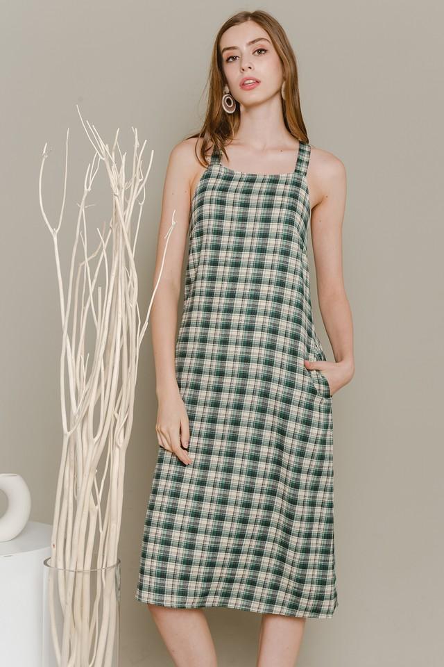 Elen Dress Green Plaids