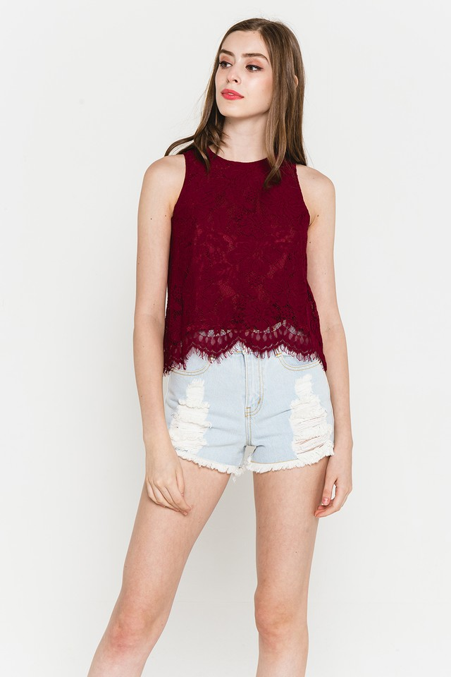 Elvina Lace Top Wine