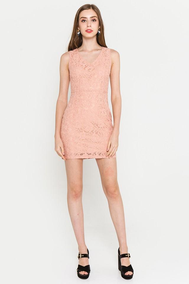 Griselda Lace Dress Coral