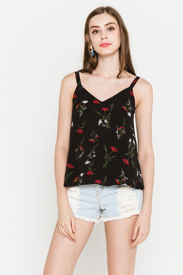 Everly Top Black Floral