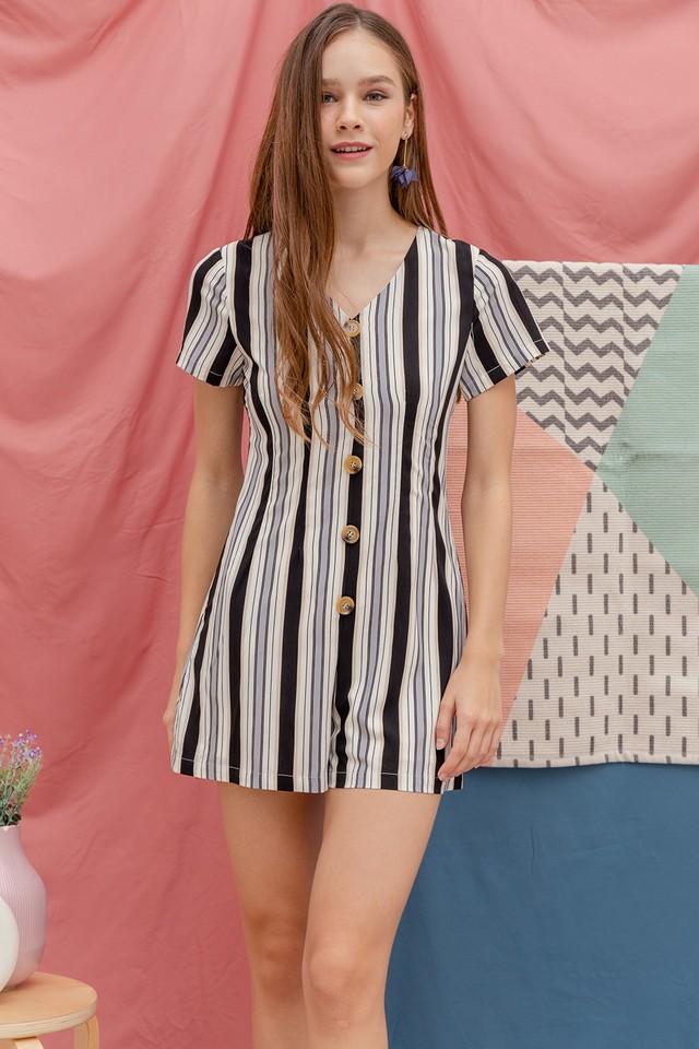 Alya Playsuit Black Stripes