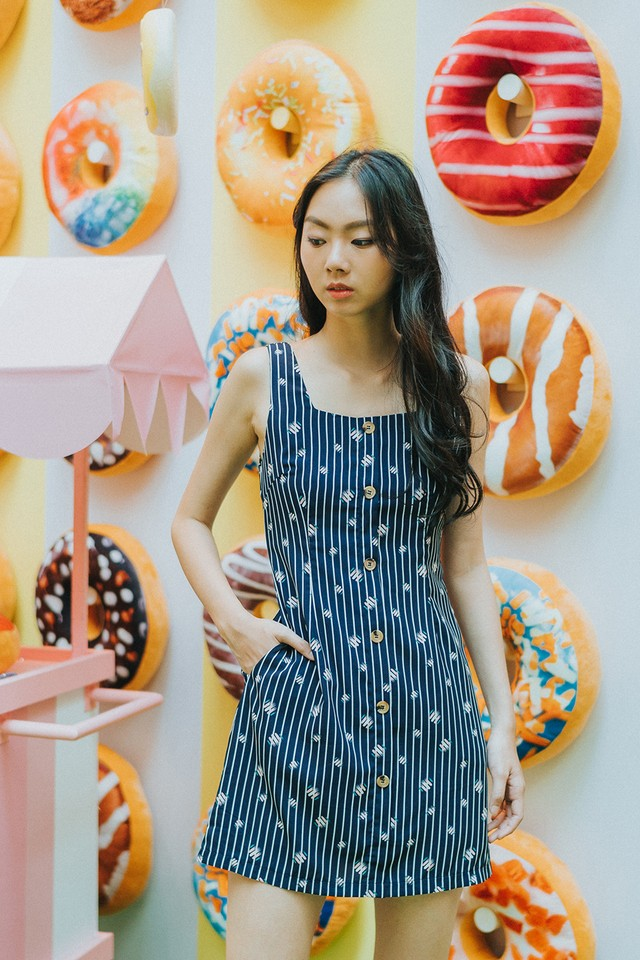Joplin Dress Navy Abstract