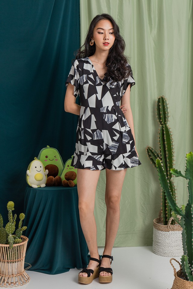 Angelou Playsuit Black Abstract