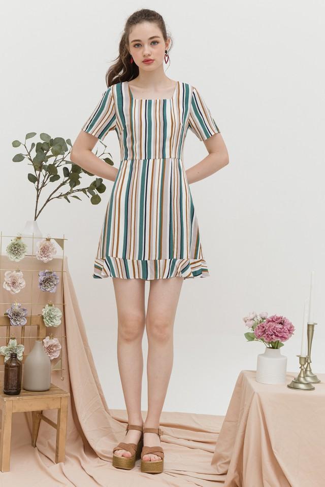 Jarina Dress Green/Brown Stripes