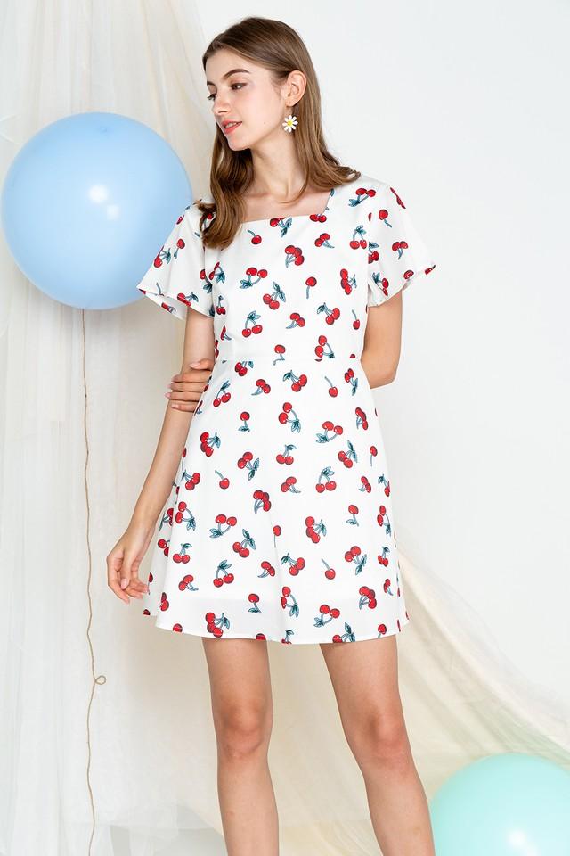 Cherry Dress White