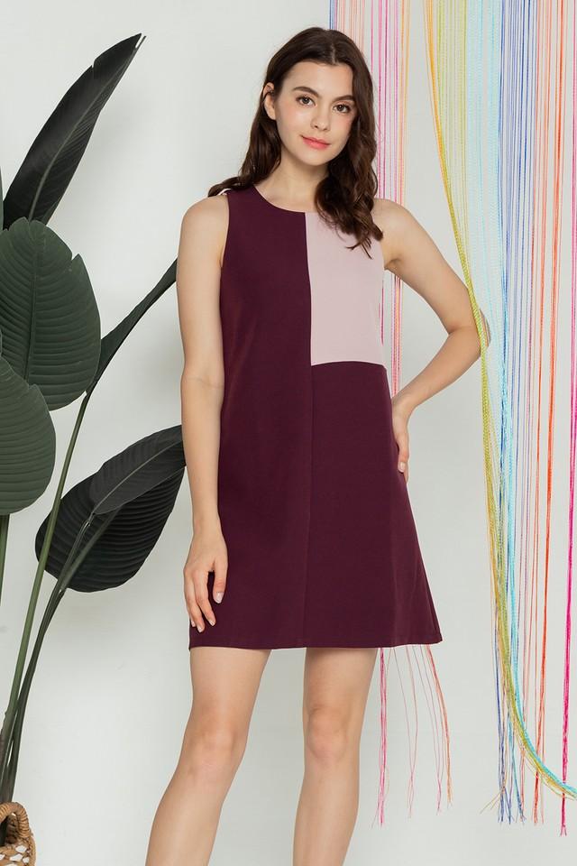 Kimberley Colourblock Dress Maroon