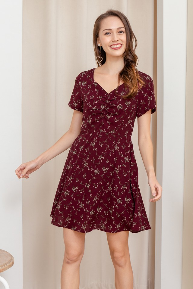 Lani Dress Maroon Floral