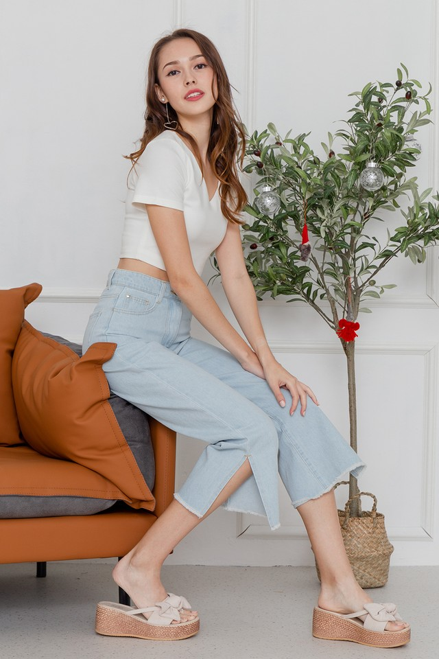 Kiyomi Slit Denim Jeans Light Wash