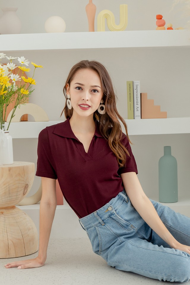 Dolores Knit Top Maroon