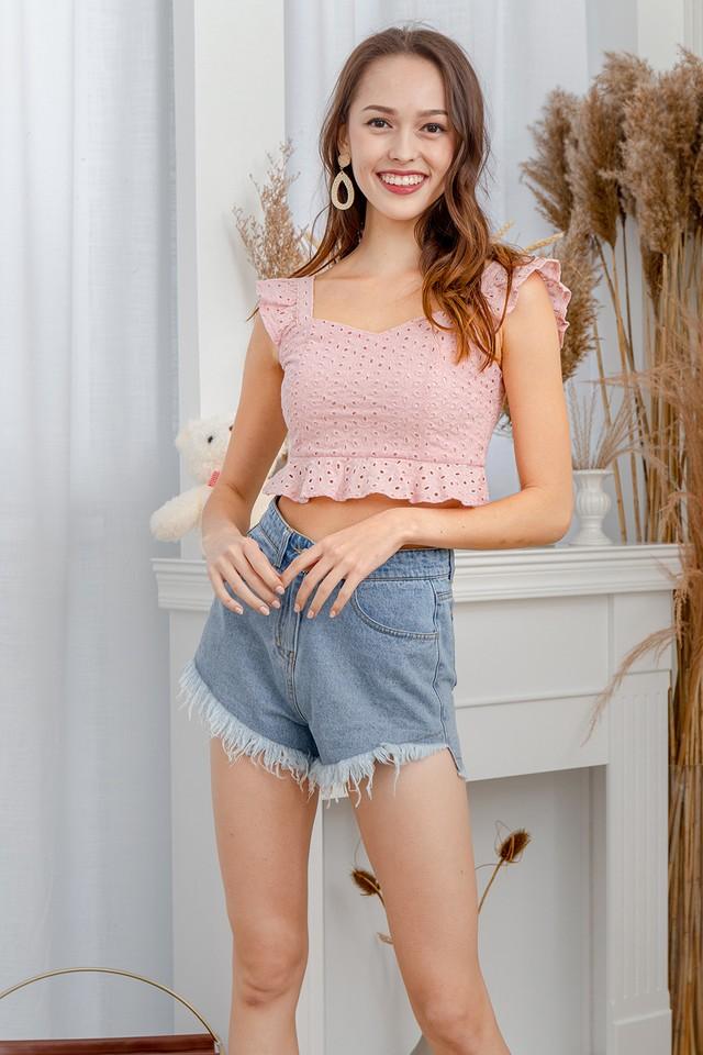 Bertia Eyelet Top Pink