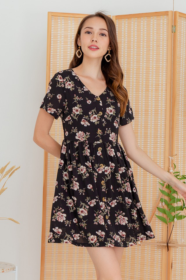 Ruth Dress Black Floral