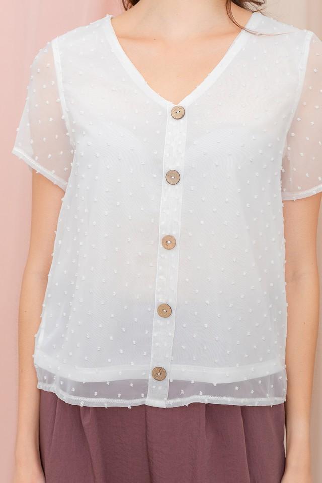 Yuna Swiss Dots Top White