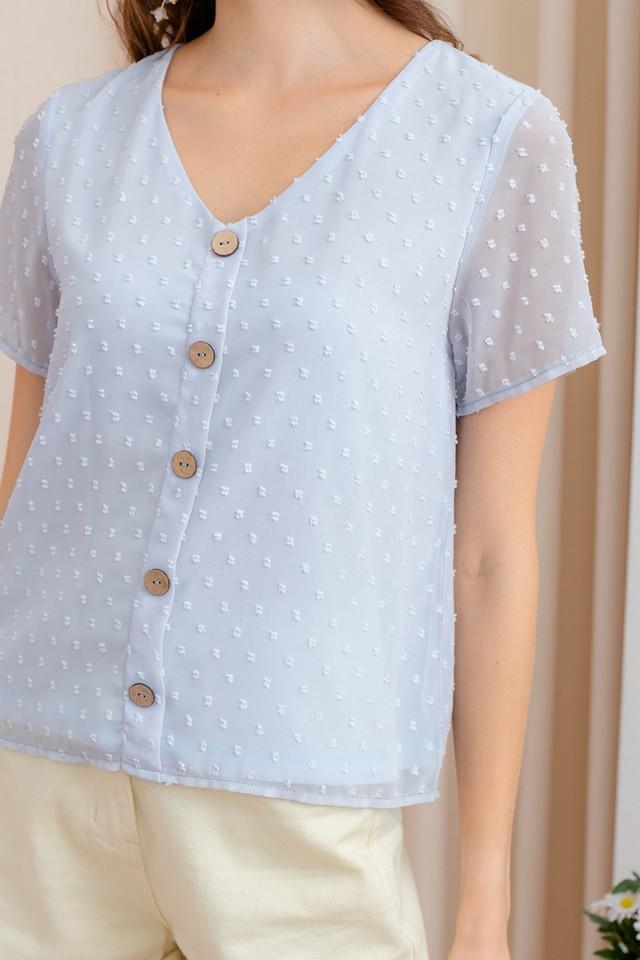 Yuna Swiss Dots Top Pastel Blue