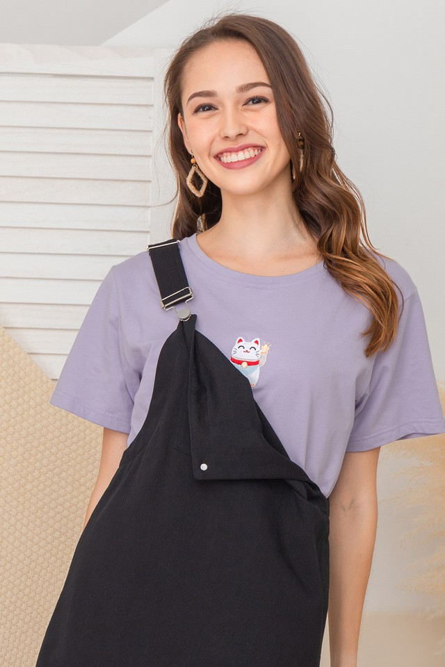 Fortune Cat Tee Lilac