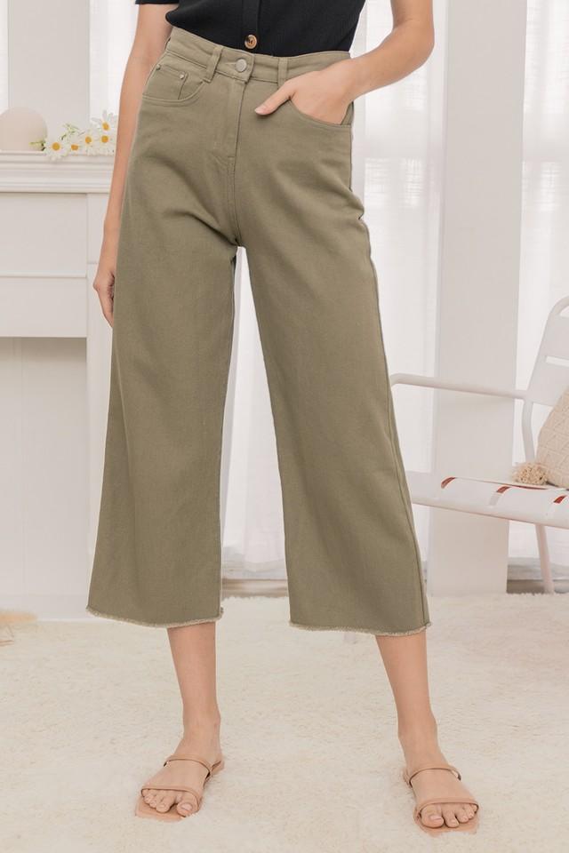 Liza Denim Pants Olive