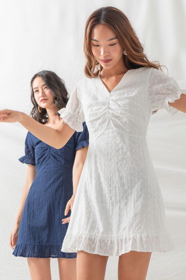 Meadow Eyelet Dress White