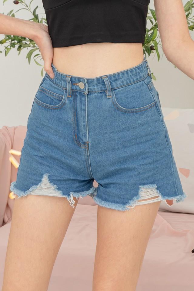 Evelee Denim Shorts Mid Wash