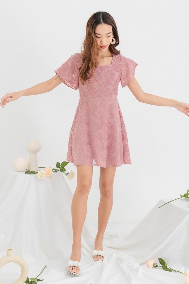 Sienna Furry Dress Creamy Rose