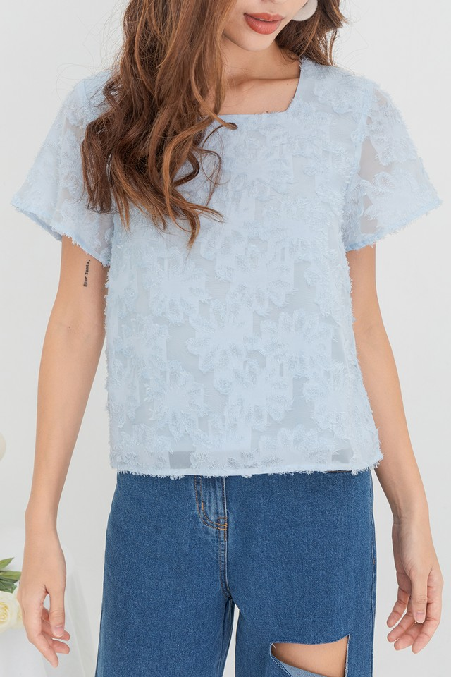 Aggie Furry Top Pastel Blue