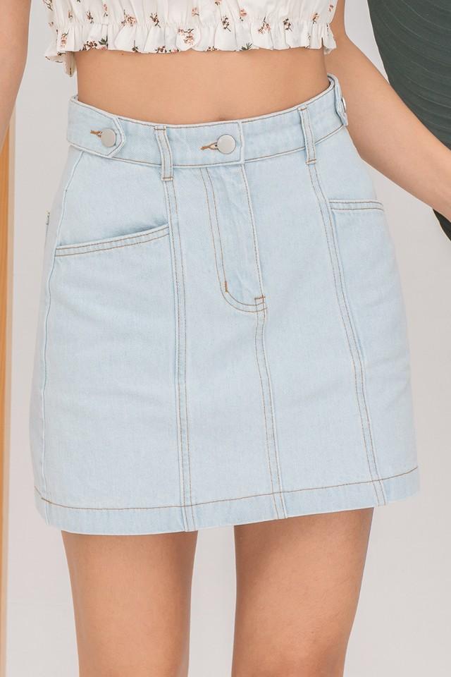 Peonie Denim Skirt Light Wash