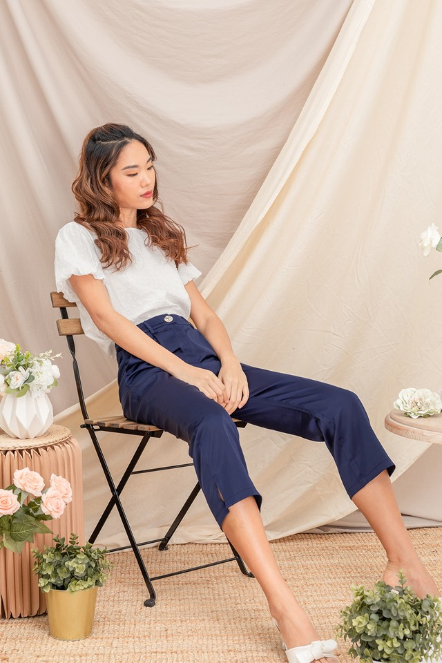 Terrie Satin Culottes Navy