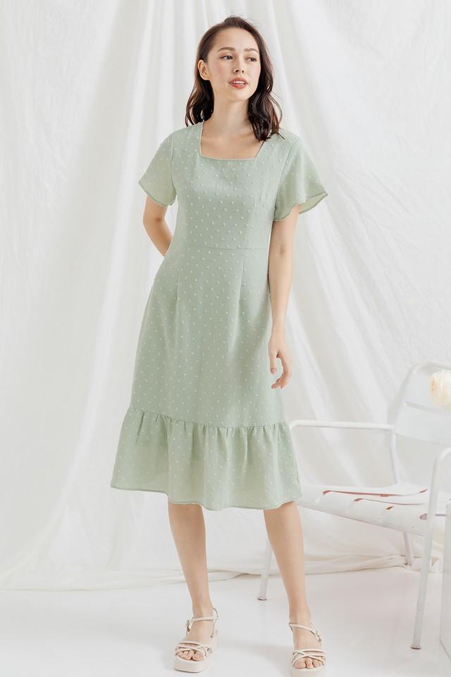 Galen Swiss Dots Dress Sage