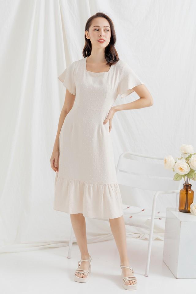 Galen Swiss Dots Dress Cream