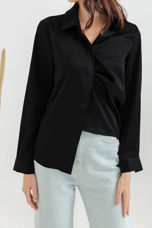 Maeko Satin Shirt Black