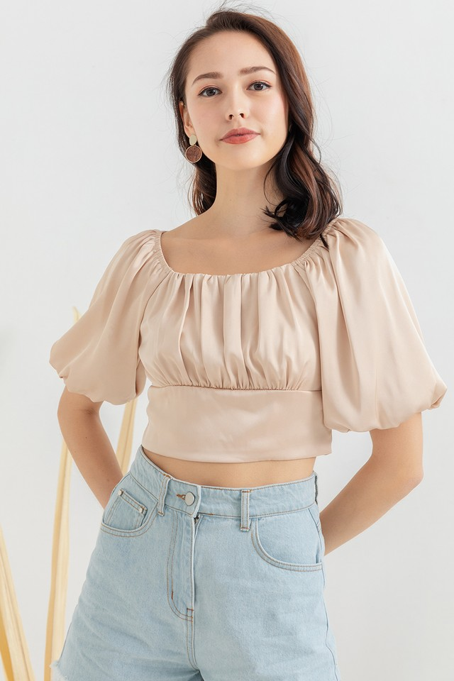 Valery Satin Top Champagne Pink