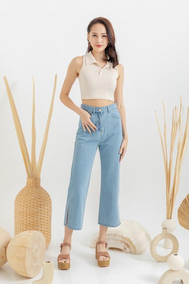 Paco Denim Slit Jeans Mid Wash