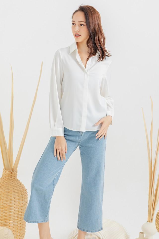 Maeko Satin Shirt White