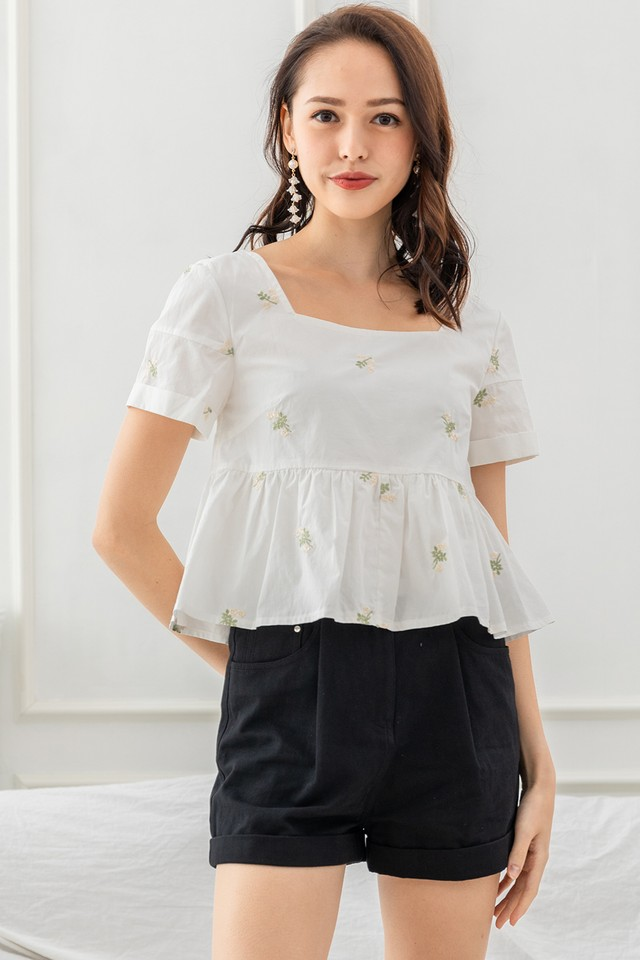 Clarity Embroidery Top Cream Floral