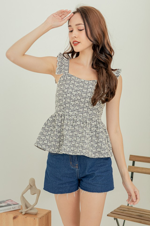 Gingham Embroidery Top Black