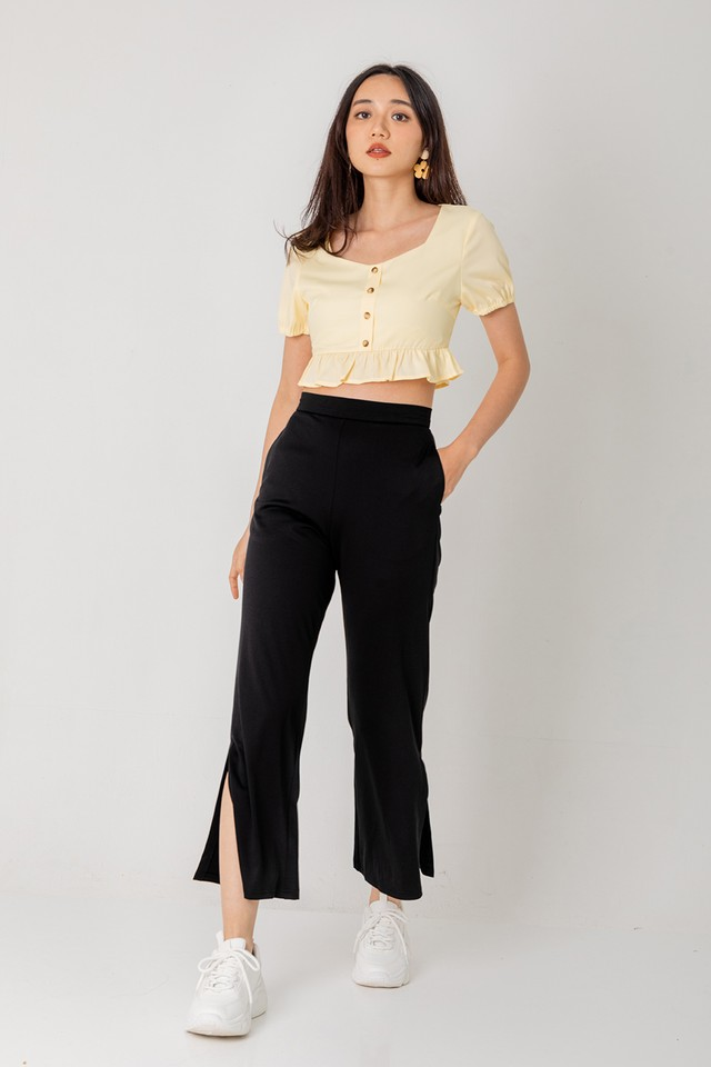 All Wanted Slit Pants Black