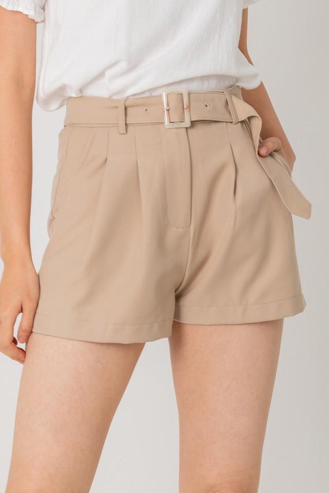 Keyon Belted Shorts Khaki