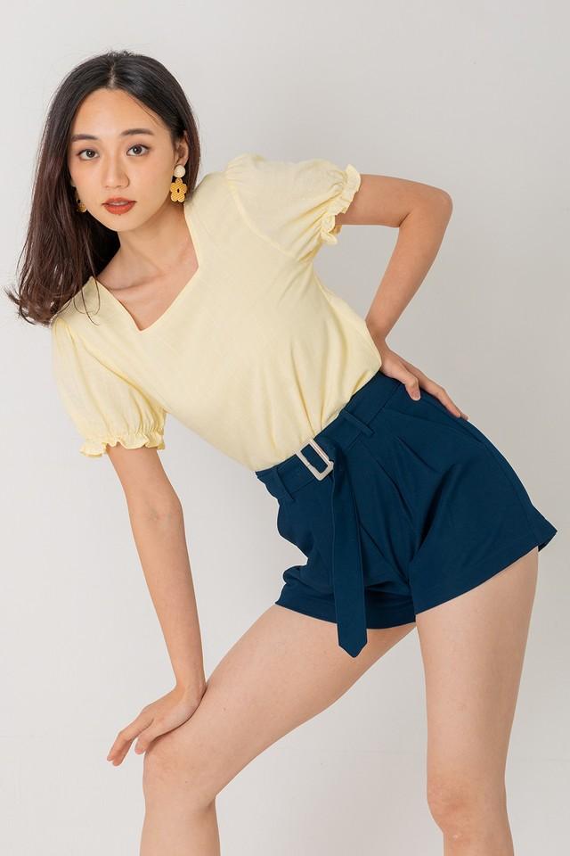 Abbi Textured Top Pastel Yellow