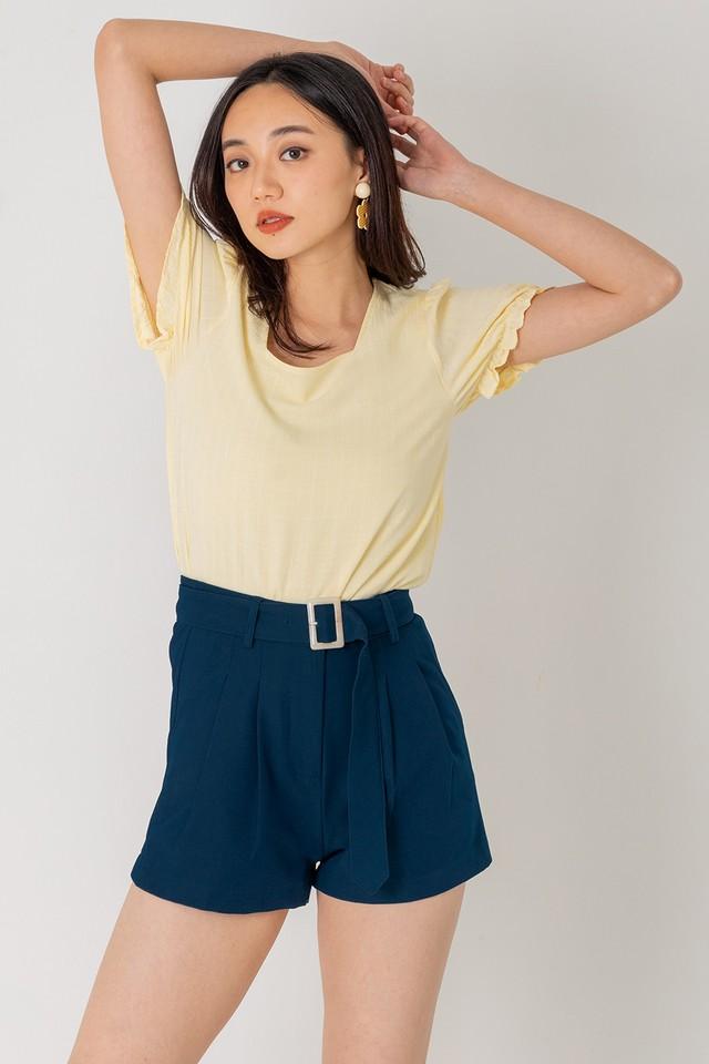 Keyon Belted Shorts Teal