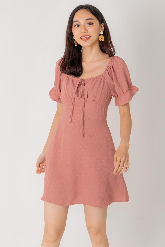 Jermaine Swiss Dots Dress Rosewood