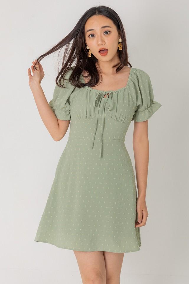 Jermaine Swiss Dots Dress Sage