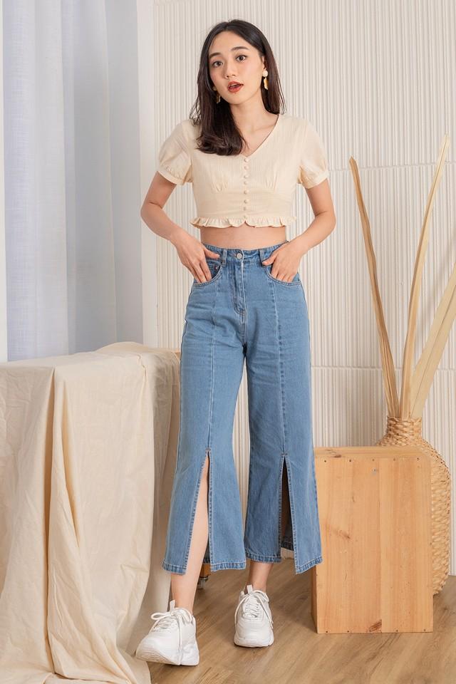 Janna Slit Jeans Mid Wash