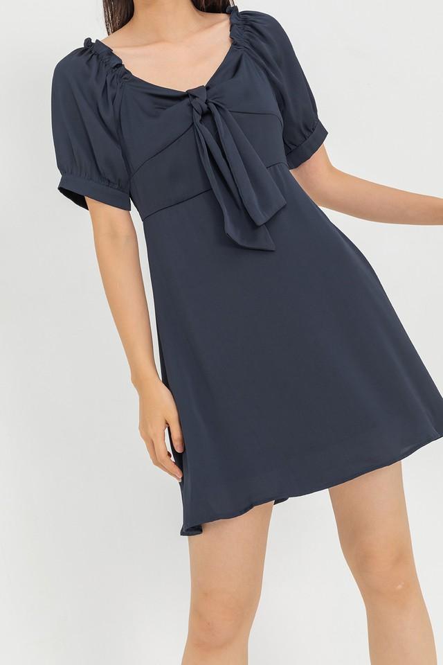Nasa Satin Dress Navy