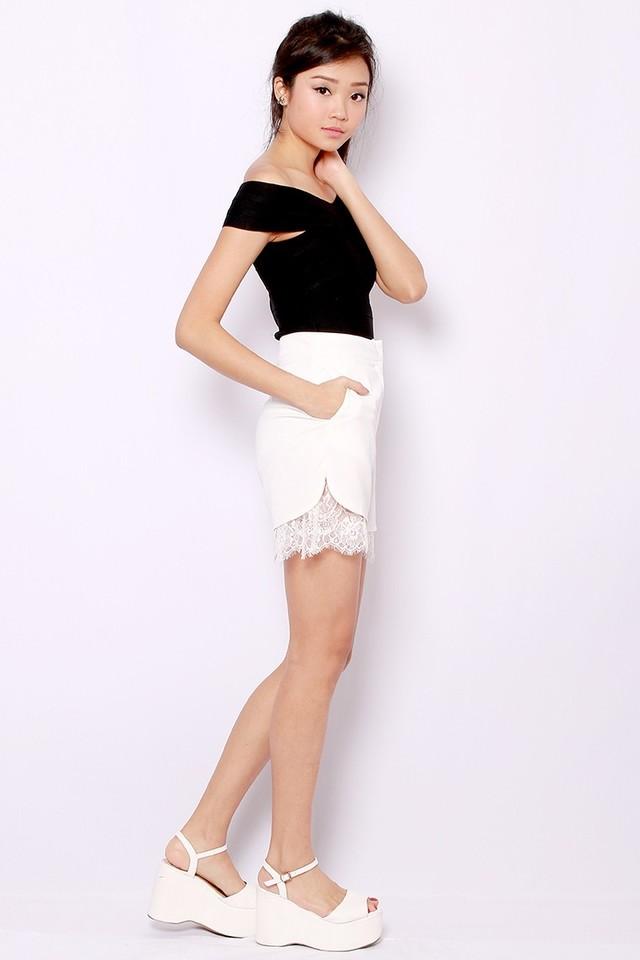 SSD Lace Trim Shorts (White)